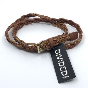 H&M BROWN FAUX LEATHER BRAIDED BELT